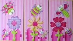 Mente Creativa: TRIPTICOS NIÑA EN COUNTRY Arte Country, Felt Crafts, Diy And Crafts, Arts And Crafts, Baby Painting, Tole Painting, Diy For Kids, Crafts For Kids, Butterfly Party