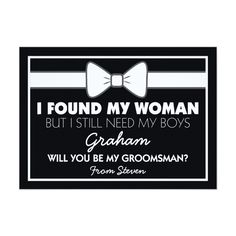 Will You Be My Groomsman Black/White Bow Tie Invitation Card