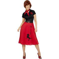 3cfff259f0666 Disfraz clásico estilo años 50 para mujer que incluye el vestido rojo y  negro