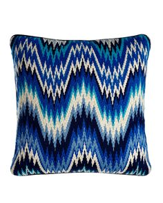 Bargello Worth Pillow, Blue - Jonathan Adler