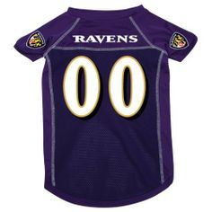 "Baltimore Ravens Pet Dog Football Jersey XL by NFL. $16.95. NOT FOR LARGER DOGS. XL: 18""-20"" length; 27""-30"" girth; 16""-21"" neck. Baltimore Ravens pet jersey - size XL. This great-looking jersey features screened-on logos on the sleeves, screened-on team name/number on the back and reverse stitching. The jersey has an updated look and feel - more like an actual player jersey - quality mesh, with silk-like accents on the shoulders/sleeves and down the sides! Please..."