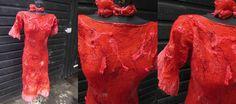 nunofelted dress in red wool  silk