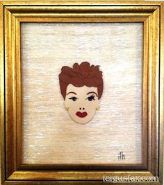 Custom leather portrait of Lucille Ball by Tergus Fax. tergusfax.com