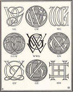 Monograms & Ciphers by AA Turbayne 1912 g Monogram Design, Monogram Fonts, Monogram Letters, Monogram Initials, Vintage Typography, Typography Design, Logo Design, 2 Logo, Online Logo