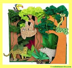 FREE Rainforest Habitat Diorama: Learn all about tropical rainforests and the animals that live in this habitat by making this fun shoebox diorama. Rainforest Crafts, Rainforest Project, Rainforest Activities, Jungle Crafts, Rainforest Habitat, Rainforest Theme, Jungle Art, Rainforest Animals, Art Activities