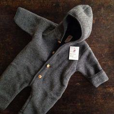 100% Organic Supersoft Merino Wool Fleece Suit - Slate 0m-2y