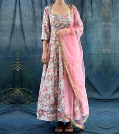 Multicoloured #Hand #Embroidered #Linen #Anarkali #Suit by Kaalimaer at #Indianroots
