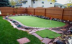 golf ideas diy,golf ideas gifts,golf ideas for him,backyard golf ideas Home Putting Green, Backyard Putting Green, Backyard Retreat, Backyard Landscaping, Backyard Patio, Landscaping Ideas, Fitness Snacks, Golf Green, Miniature Golf