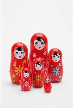 I would love to find a vintage set of nesting dolls, but these are pretty cute, too :)