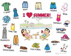 ESL clothing vocabularies, clothing, different types of clothing, ESL resources, The English Student