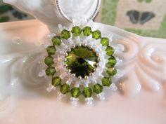 Crystal Necklace Olive green rivoli by KeepsakeDesignsbyCMM