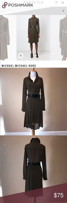 Michael Michael Kors Polka Dot shirt dress size 6 Great polka dot shirt dress by Michael Michael Kors size 6. Great for work. Bust is slightly sheer. Skirt is fully lined. 100 percent polyester. Bust is 38 inches. Waist is 34 inches. Hips 54 inches. Dress length is 45 inches. No trades but offers are welcome. NWOT. MICHAEL Michael Kors Dresses