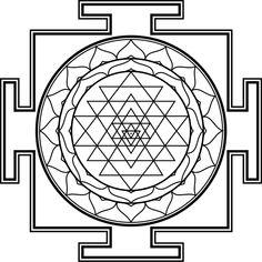 """Sri Yantra mandala"" by nineblade Tantra, Sri Yantra Tattoo, Adult Coloring Pages, Coloring Books, Motif Oriental, Shri Yantra, Sacred Geometry Symbols, Geometric Symbols, 7 Chakras"