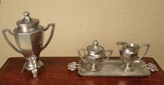 Samovar, Sugar, Creamer and Tray by Gerlach Tynietoy Accessory #198-12 SOLD Coffee Cups, Tray, Sugar, Accessories, Coffee Mugs, Coffee Cup, Trays, Board, Jewelry Accessories