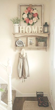 Best Small Entryway Decor & Design Ideas To Upgrade Space 2019 - Small entryway spring flowers country white farmhouse style Decor, Farmhouse Decor, Decor Design, Small Mudroom Ideas, Home Decor, Entryway Decor Small, Home Deco, White Farmhouse, Rustic House