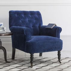Pimlico Button Back Velvet Armchair - Due End Sept