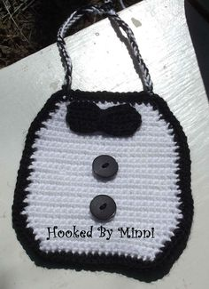 Adorable tuxedo baby bib. Cute for pictures or just to wear around... Can also make matching diaper cover as well.
