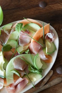 Avocado, Melon & Prosciutto Salad Basil Genovese l Tumblr    Don't have Prosciutto handy - no problem - substitute thinly sliced baked ham - this is great for lunch or dinner on a hot summer day