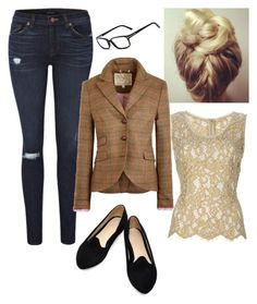 """""""Teach"""" by jillscribbles ❤ liked on Polyvore featuring Jack Wills, Dolce&Gabbana, Tom Ford, lace, ripped jeans, tweed blazers and nerd glasses"""