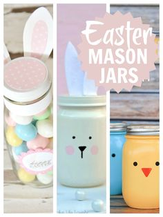 Easter Mason Jars ... lovely simple ideas for Easter mason jars that you can make for and with the kids