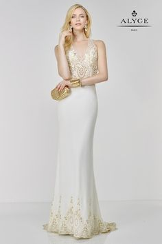 Alyce Paris - 6506 Prom Dress in Ivory Gold