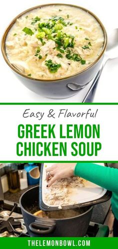 If you want flavor this is the soup you need! This egg-lemon soup is packed with flavor and not calories. Ready in under 30 minutes. You�ll be pleased to learn that my version is completely dairy, gluten-free and requires only 2 eggs. Gluten Free Recipes For Dinner, Healthy Soup Recipes, Dairy Free Recipes, Diet Recipes, Chicken Recipes, Greek Lemon Chicken Soup, Lemon Soup, 2 Eggs, Kitchen Recipes
