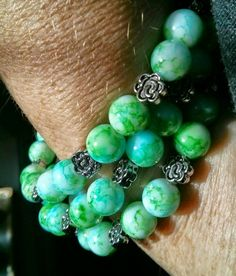 Handmade Green Beaded Bracelet Memory Wire by Sunshinecreationsnc
