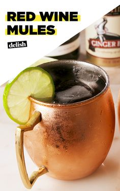 Red Wine + Moscow Mules = The cocktail of your DREAMS. Get the recipe at Delish.com. #recipe #easyrecipe #easy #cocktail #wine #redwine #alcohol #liquor #vodka #ginger #beer #moscowmule #drinking #drinkrecipe
