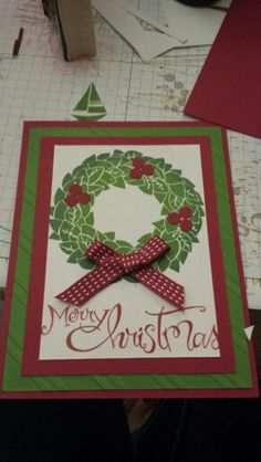 Wreath Christmas Card Stampin' Up www.after5creations.com