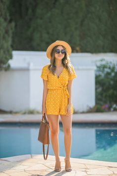 e83aa16b79 Feeling Frisky In a Cute Mustard Playsuit