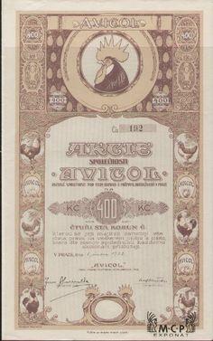 Muzeum cennych papiru A1485 AVICOL, akciová společnost pro chov, obchod a průmysl drůbežnický v Praze 1922