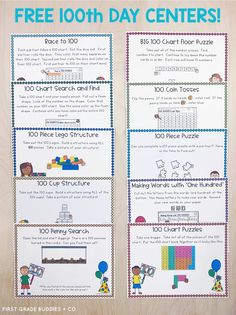 To celebrate the Day of School we set up math centers using the number In this post we're sharing our favorite centers we've gathered through the years and giving you the resources! 100th Day Of School Crafts, 100 Day Of School Project, 100 Days Of School, School Fun, School Projects, 100s Day, 100 Day Celebration, Notes To Parents, School Coloring Pages