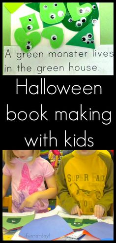 Halloween Book Making with Kids from www.fun-a-day.com.  Kids make a book about not so scary monsters and learn so many literacy skills in the process!  Tons of fun!