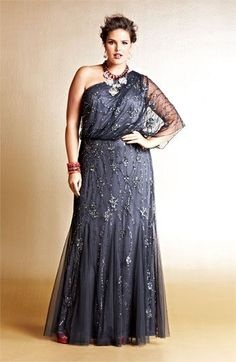 Adrianna Papell Beaded One Shoulder Gown Big beautiful curvy real women, real… Vestidos Plus Size, Plus Size Gowns, Dress Plus Size, Wedding Dresses Plus Size, Plus Size Outfits, Wedding Gowns, Pretty Outfits, Pretty Dresses, Beautiful Dresses