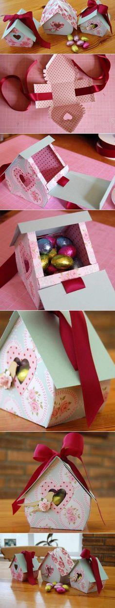 fabriquer une boite en carton en forme de maisonnette décorative shabby chic, boite à bonbons à offrir pour Pâques