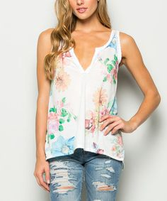 Look at this #zulilyfind! White Floral Lace-Trim Hi-Low Tank #zulilyfinds