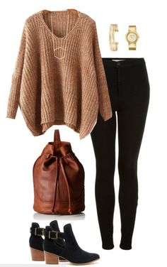 Fall outfit idea - Camel and black are two colors made for each other. Pair your favorite black denim with a chunky sweater in camel, ankle boots and a brown bucket bag. accessories ideas Designer Handbags: Splurge or Save - You Decide! Mode Outfits, Casual Outfits, Fashion Outfits, Womens Fashion, Black Dress Outfits, Fall Winter Outfits, Autumn Winter Fashion, Dress Winter, Winter Clothes