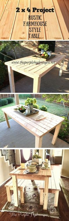 Check out how to make a DIY wooden farmhouse table from 2x4s @istandarddesign