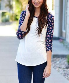 Love this White & Navy Floral Raglan Tunic on #zulily! #zulilyfinds