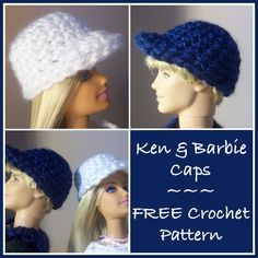 A free crochet pattern for Ken and Barbie caps. The caps work up very easy making this a beginner crochet pattern.