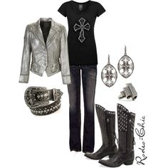 Rodeo-Chic, Silver leather jacket, Boots by @lucchese1883