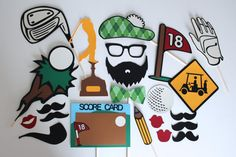 Golf Themed Photo Booth Props - Features Unique Detailed Chalkboard Score Card and More