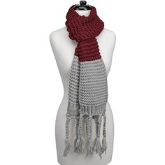 Knitted Fringe Scarf-Maroon