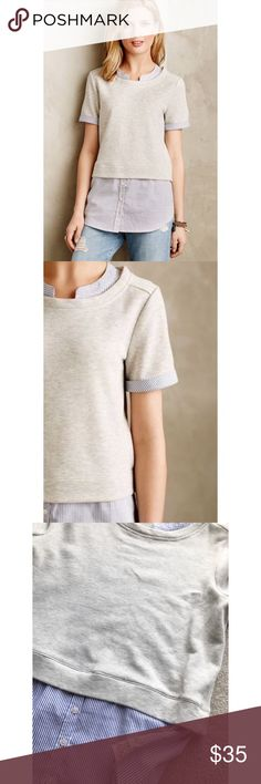 """ANTHROPOLOGIE POSTMARK LAYERED SWEATSHIRT TOP SZ L ANTHROPOLOGIE POSTMARK LAYERED SWEATSHIRT TOP SZ L - 40-41"""" BUST 28-29"""" LENGTH BODY: 58% COTTON 48% POLYESTER  WOVEN TRIM: 100% COTTON Anthropologie Tops Blouses"""