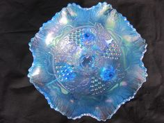 "8 ¼"" Fenton G&C Ball ftd. 8 Ruffled Bowl – for auction. Blue Carnival Glass, Fenton Glassware, Iridescent, Mirrors, Stained Glass, Burns, Glass Art, Cable, Pottery"