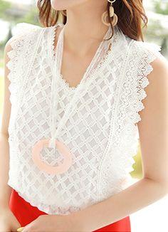 Full Lace V-Neck Sleeveless Blouse, Styleonme