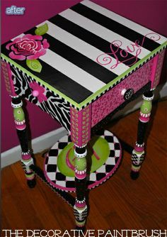Funky Furniture Friendship This is so tacky. Please don't ever add this into your child's room. Or any room. Decorator vomit does not equal good design. Whimsical Painted Furniture, Painted Chairs, Hand Painted Furniture, Funky Furniture, Colorful Furniture, Paint Furniture, Repurposed Furniture, Furniture Projects, Furniture Makeover