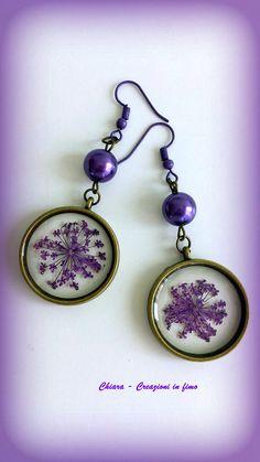 #Resin #earrings #driedflowers #resinjewellery Orecchini in resina fiori secchi viola orecchini handmade