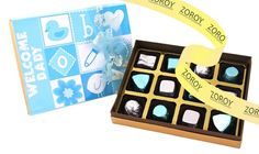 A box with 12 assorted chocolates wrapped in blue and silver for the welcome of the new arrival. Perfectly finished with a matching bow and ribbon. A great gift for birthdays too. Chocolate Wrapping, Birthday Chocolates, Blue And Silver, Birthday Gifts, Great Gifts, Baby Boy, Bows, Birthday Presents, Arches
