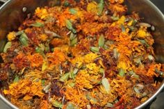 Dyeing wool with marigolds.